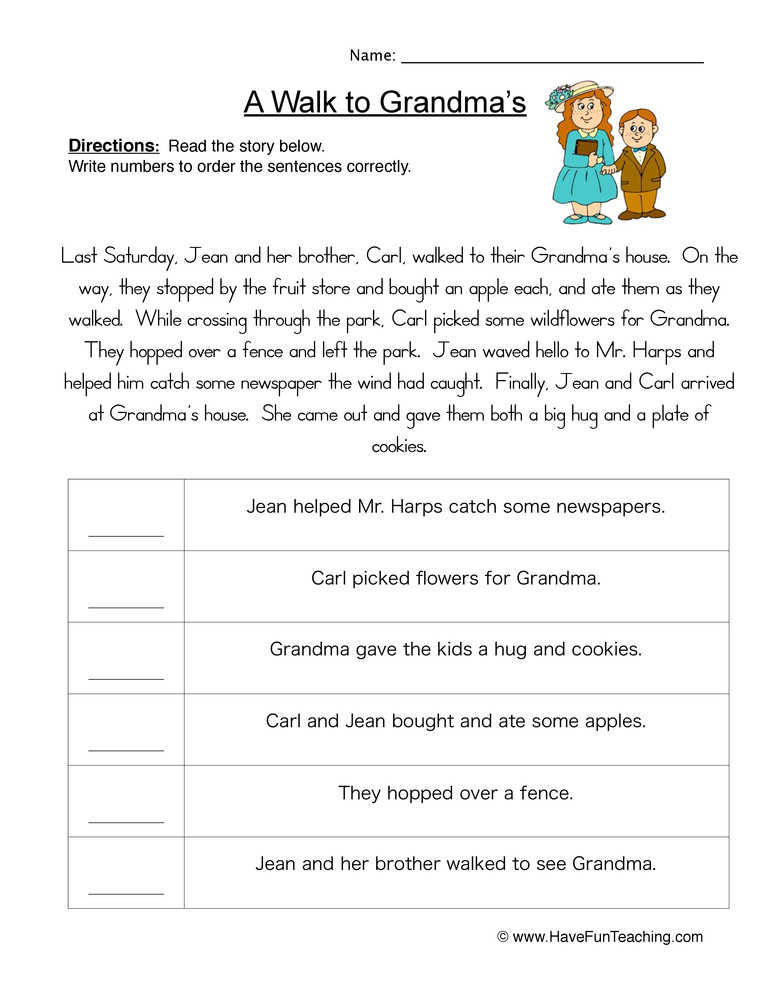 4th Grade Sequencing Worksheets Story events order Of events Worksheet