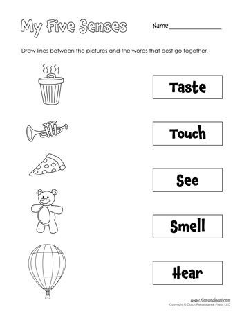 5 Senses Worksheet for Kindergarten Five Senses Matching