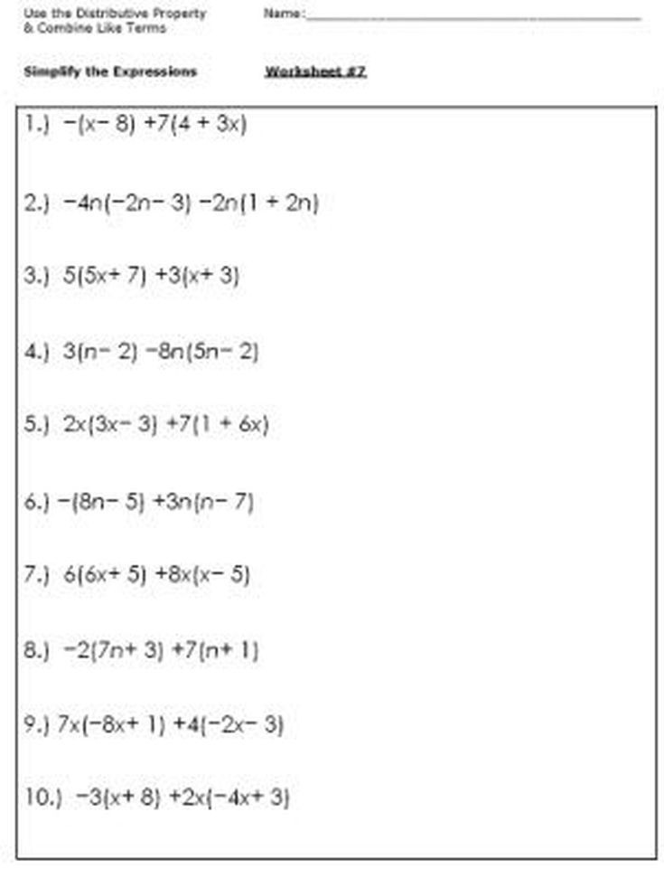 5th Grade Algebraic Expressions Worksheets Algebra Worksheets for Simplifying the Equation