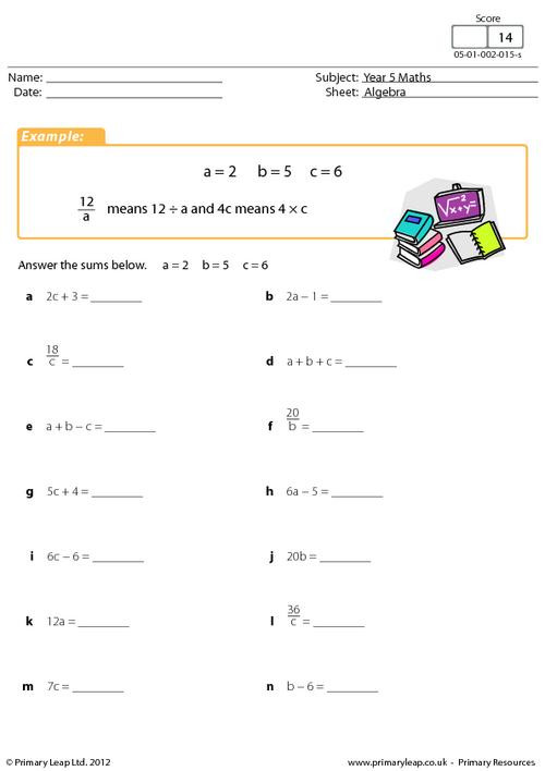 5th Grade Algebraic Expressions Worksheets Numeracy Simple Algebraic Expressions