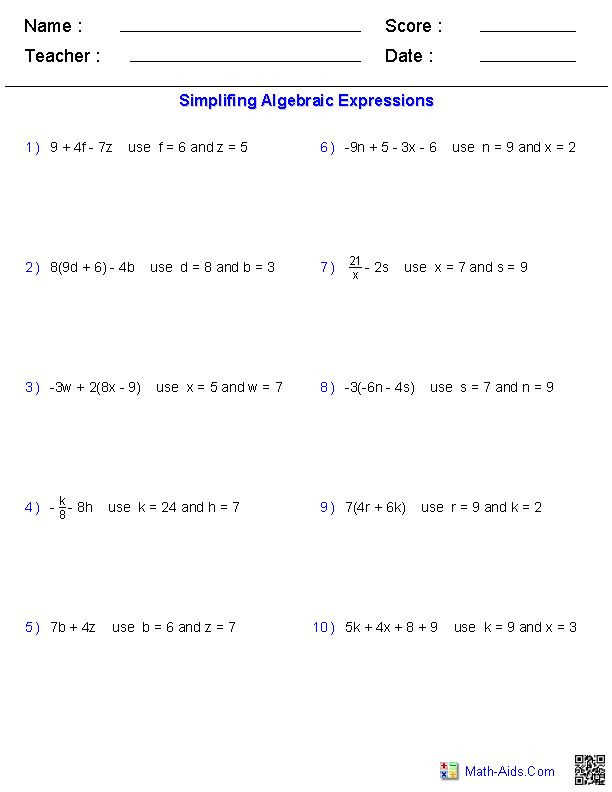 5th Grade Algebraic Expressions Worksheets Pre Algebra Worksheets