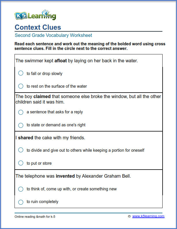 5th Grade Context Clues Worksheets 2nd Grade Vocabulary Worksheets Printable and organized by