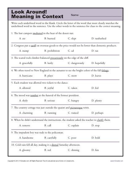 5th Grade Context Clues Worksheets Look Around Meaning In Context Middle School Worksheets