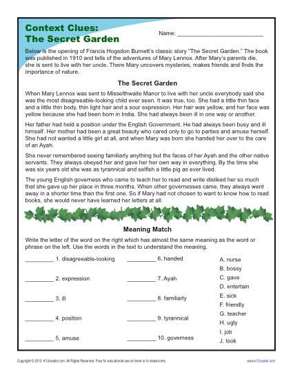 5th Grade Context Clues Worksheets the Secret Garden