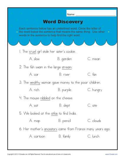 5th Grade Context Clues Worksheets Word Meaning Picture Clues Worksheets