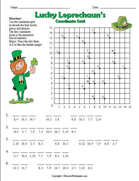 5th Grade Coordinate Grid Worksheets Use the Coordinate Grid to Decode the Irish Words Places