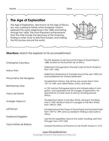 5th Grade History Worksheets Age Of Exploration Worksheet Age Of Discovery