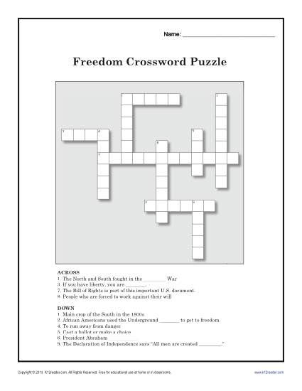5th Grade History Worksheets Freedom Crossword Puzzle