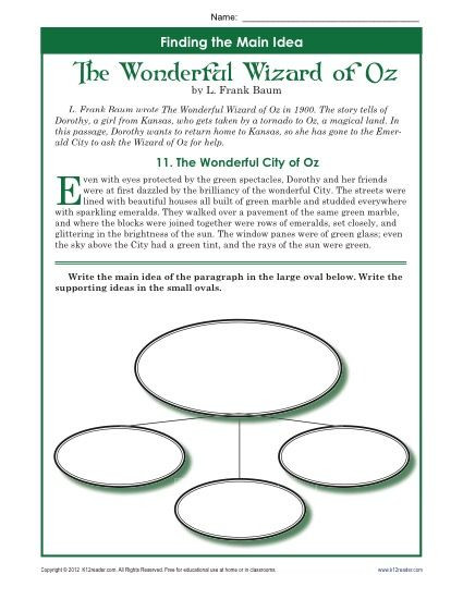 5th Grade Main Idea Worksheets 5th Grade Main Idea Worksheet About the Wonderful Wizard Of