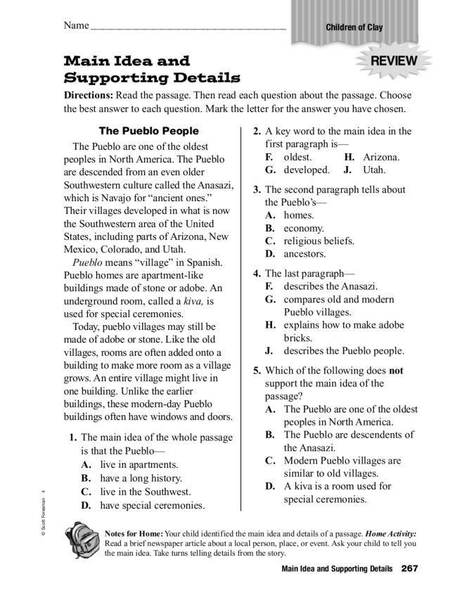 5th Grade Main Idea Worksheets Main Idea and Supporting Details Worksheet for 3rd 5th