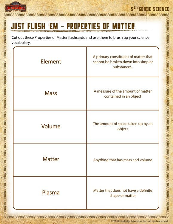 5th Grade Science Practice Worksheets Just Flash Em – Properties Of Matter View Printable