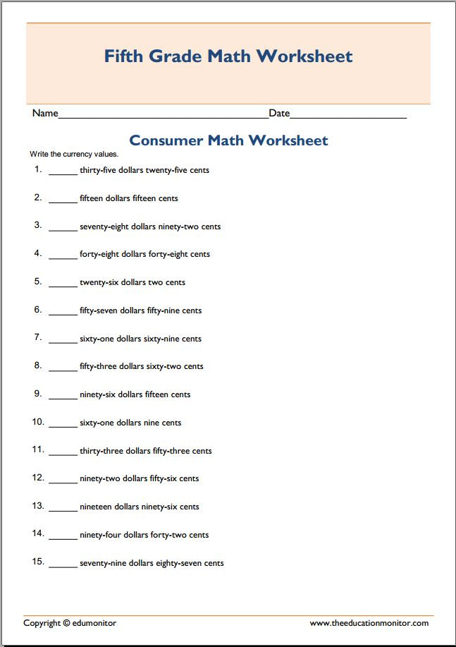 5th Grade theme Worksheets Consumer Math Worksheets Answers Ags Worksheet Fifth Grade