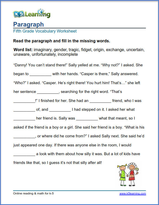 5th Grade Vocabulary Worksheets Pdf Grade 5 Vocabulary Worksheets – Printable and organized by