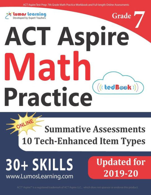 6th Grade istep Practice Worksheets Act aspire Test Prep 7th Grade Math Practice Workbook and Full Length Line assessments Act aspire Study Guide Paperback