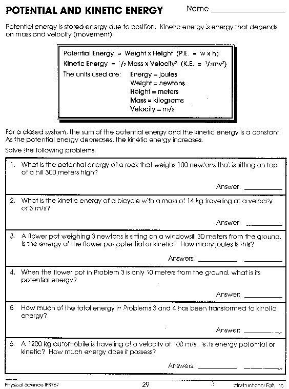 6th Grade Science Energy Worksheets Security Check Required