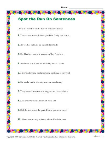 6th Grade Sentence Structure Worksheets which Of the Following is A Run On Sentence