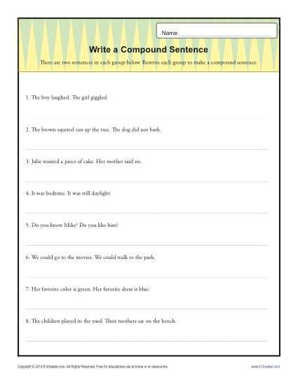 6th Grade Sentence Structure Worksheets Write A Pund Sentence