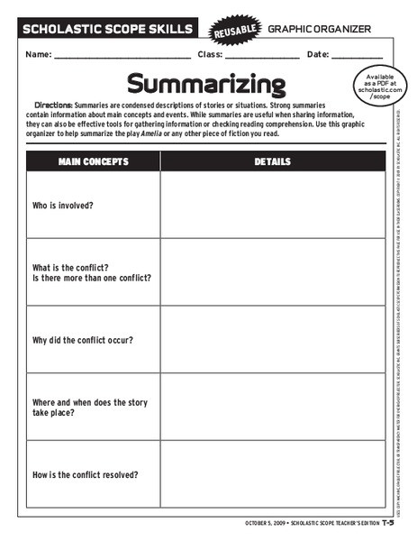 6th Grade Summarizing Worksheets Summarizing Graphic organizer Graphic organizer for 6th