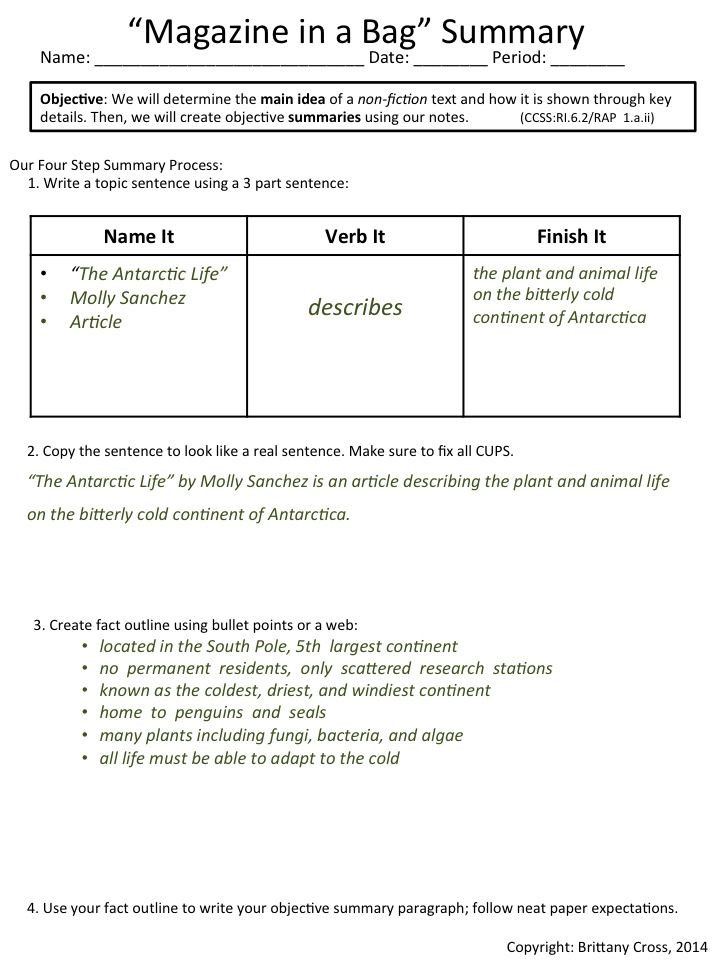 6th Grade Summarizing Worksheets Summarizing Non Fiction Articles
