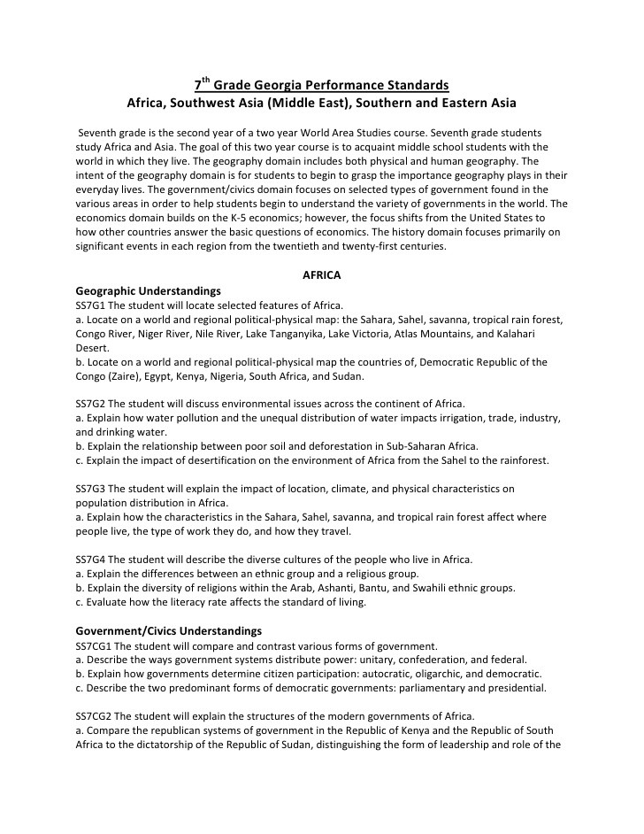 7th Grade History Worksheets 7th Grade social Stu S Georgia Performance Standards