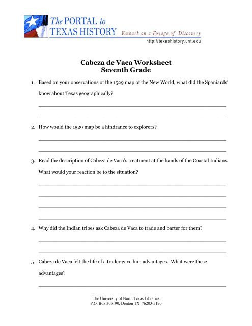 7th Grade History Worksheets Cabeza De Vaca Worksheet Seventh Grade University Of north