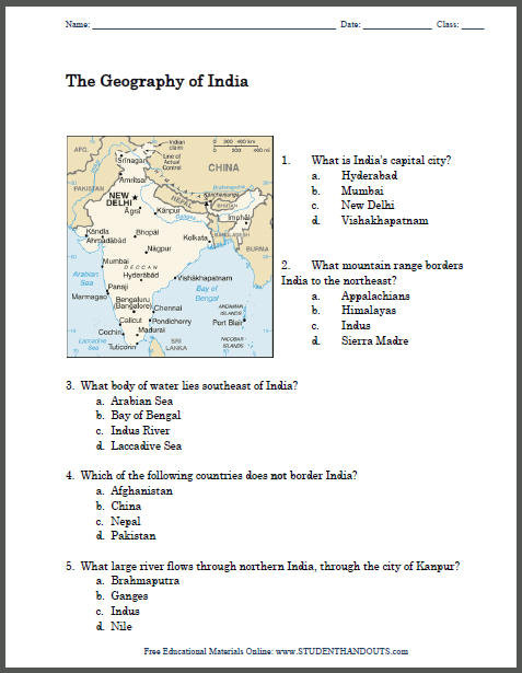 7th Grade History Worksheets Geography Of India Printable Map Worksheet