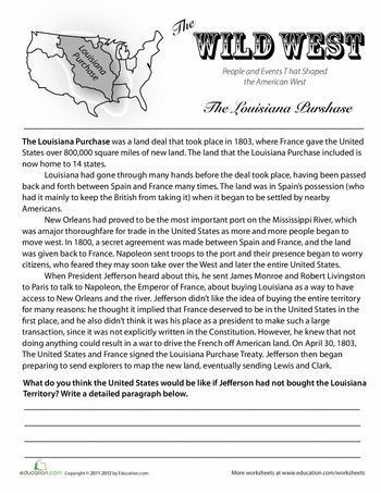 7th Grade History Worksheets History Of the Louisiana Purchase