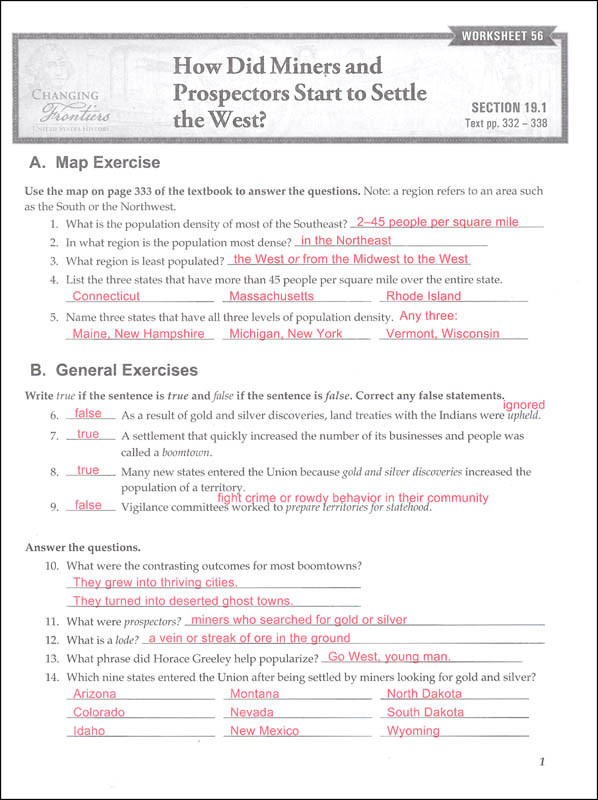 8th Grade social Studies Worksheets social Stu S Grade 8 Changing Frontiers Worksheet Answer Key 2