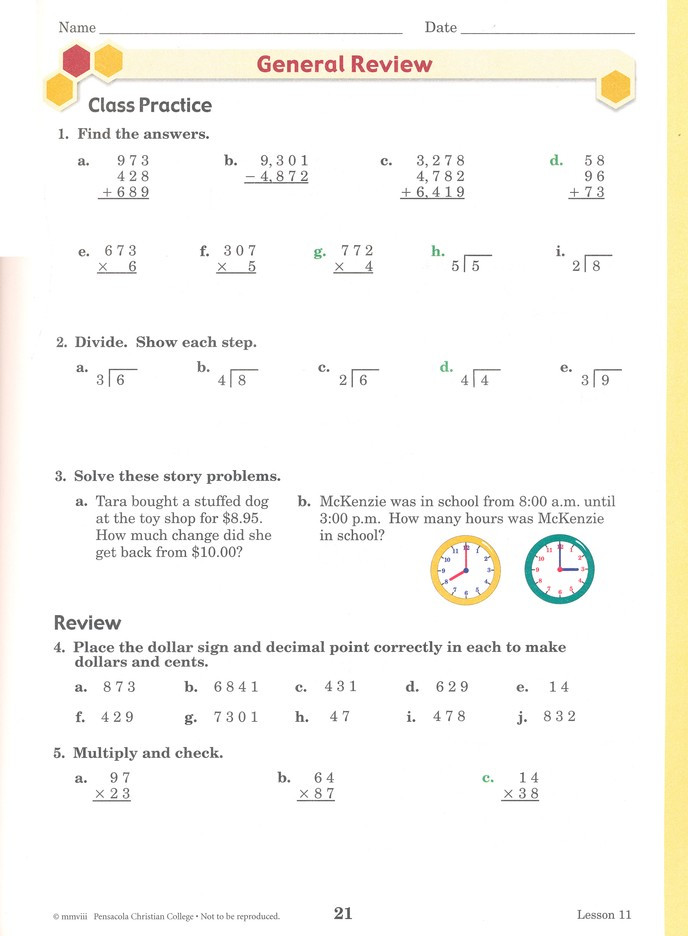 Abeka 3rd Grade Math Worksheets Abeka Arithmetic 4 Work Text Fourth Edition