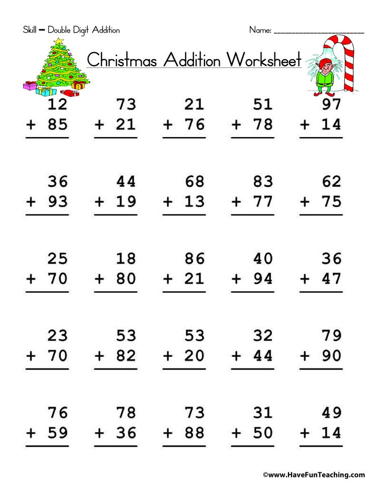 Adding Doubles Worksheet 2nd Grade Christmas Double Digit Addition Worksheet