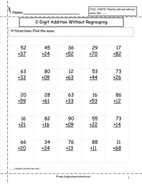 Adding Doubles Worksheet 2nd Grade Digit Plus Addition with some Regrouping Math Adding
