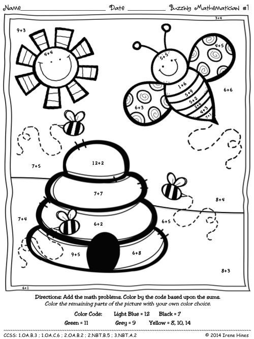 Addition Coloring Worksheets for Kindergarten Bee A Buzzing Mathematician Color by the Code Addition