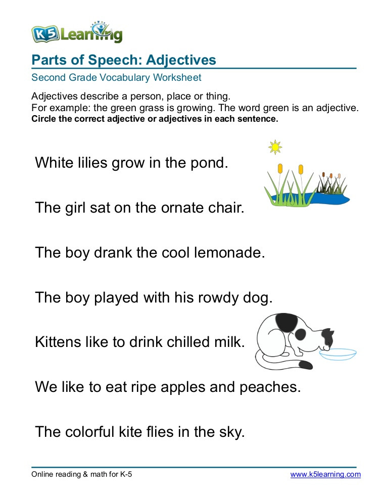 Adjectives Worksheet 2nd Grade 2nd Grade Circle Adjective 3