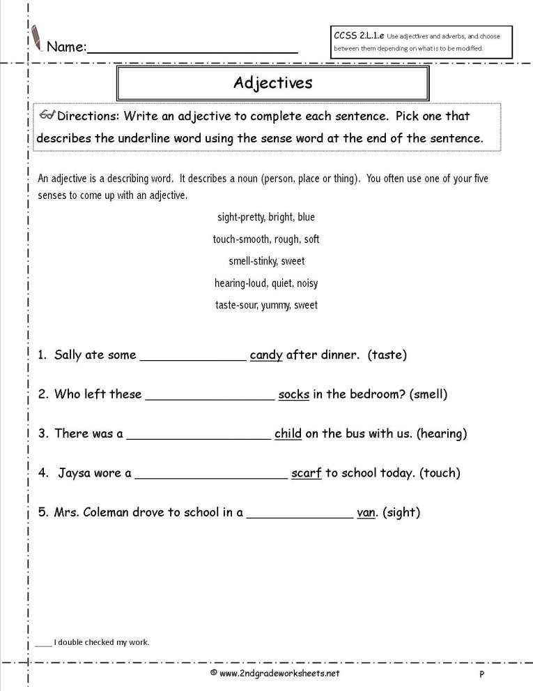 Adjectives Worksheet 2nd Grade Adjective Worksheet 2nd Grade Free and Free Using Adjectives