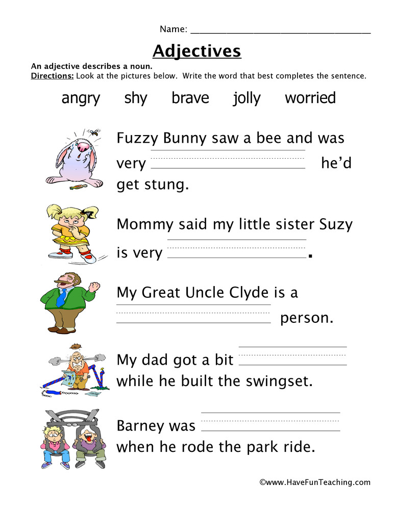 Adjectives Worksheet 2nd Grade Adjectives Feelings Worksheet