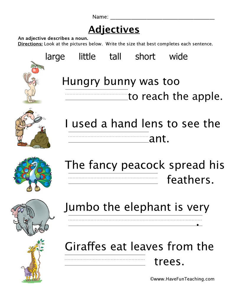 Adjectives Worksheet 2nd Grade Adjectives Size Worksheet