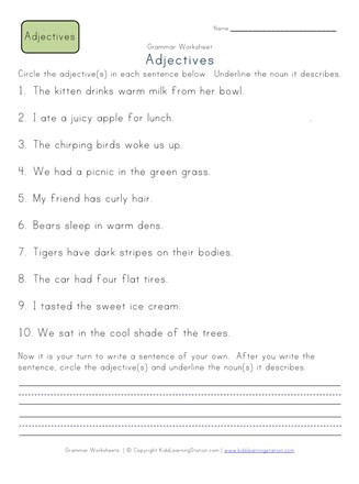 Adjectives Worksheet 2nd Grade Circle the Adjectives Worksheet 1