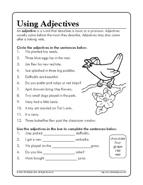 Adjectives Worksheet 2nd Grade Using Adjectives Worksheet for 3rd 5th Grade Lesson Planet