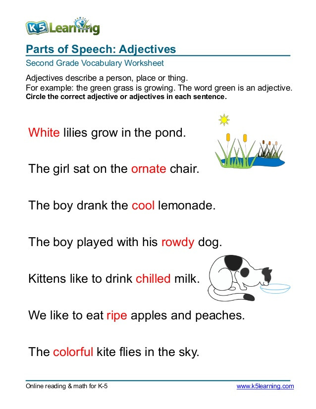 Adjectives Worksheets for Grade 2 2nd Grade Circle Adjective 3