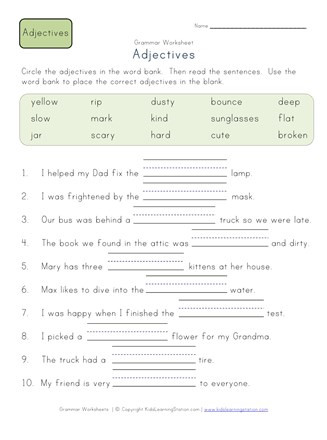 Adjectives Worksheets for Grade 2 Plete the Sentences Worksheet 2