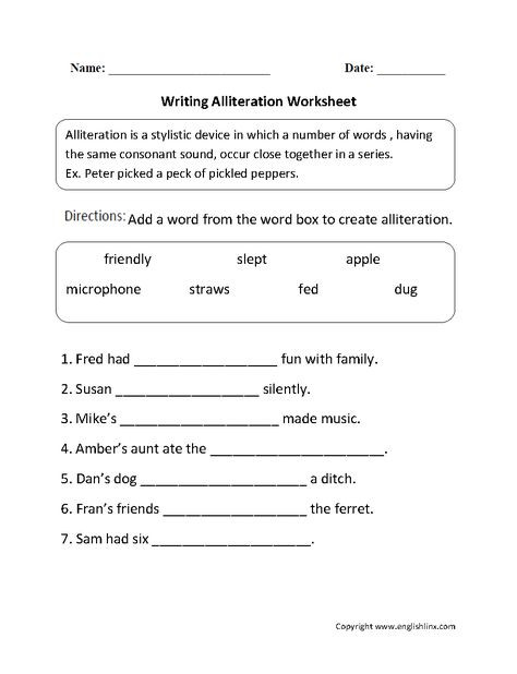 Alliteration Worksheets 4th Grade 10 Best Alliteration Images