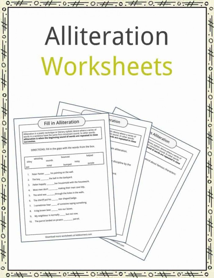 Alliteration Worksheets 4th Grade Figurative Language Alliteration Sentences Worksheets