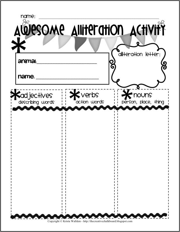 Alliteration Worksheets 4th Grade Free Alliteration Worksheets for Kids – Mreichert Kids