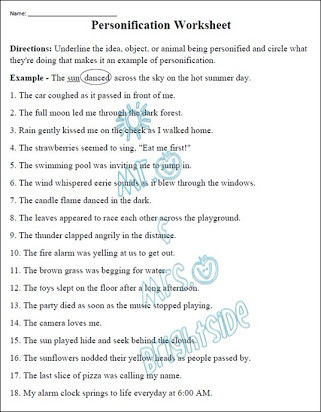 Alliteration Worksheets 4th Grade Free Printable Worksheets On Personification