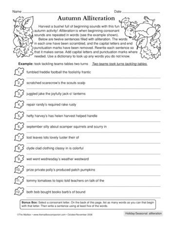 Alliteration Worksheets 4th Grade Harvest A Bushel Full Of Alliteration Vocabulary and