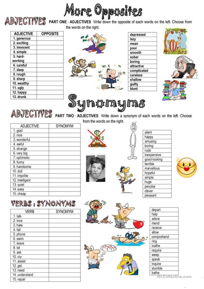 synonyms and opposites english esl worksheets for distance opposite exercises finite math 692x979