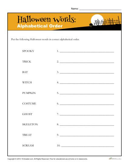halloween words alphabetical order