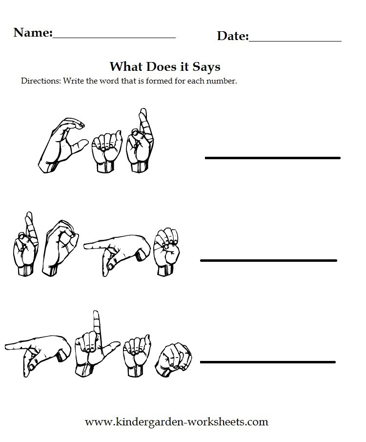 American Sign Language Worksheets Printable Kindergarten Worksheets Worksheets Sign Language