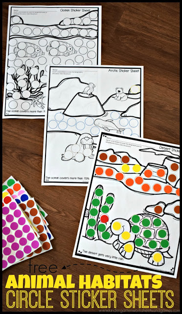 Animal Habitat Worksheets for Kindergarten Free Animal Habitat Worksheets with Circle Stickers
