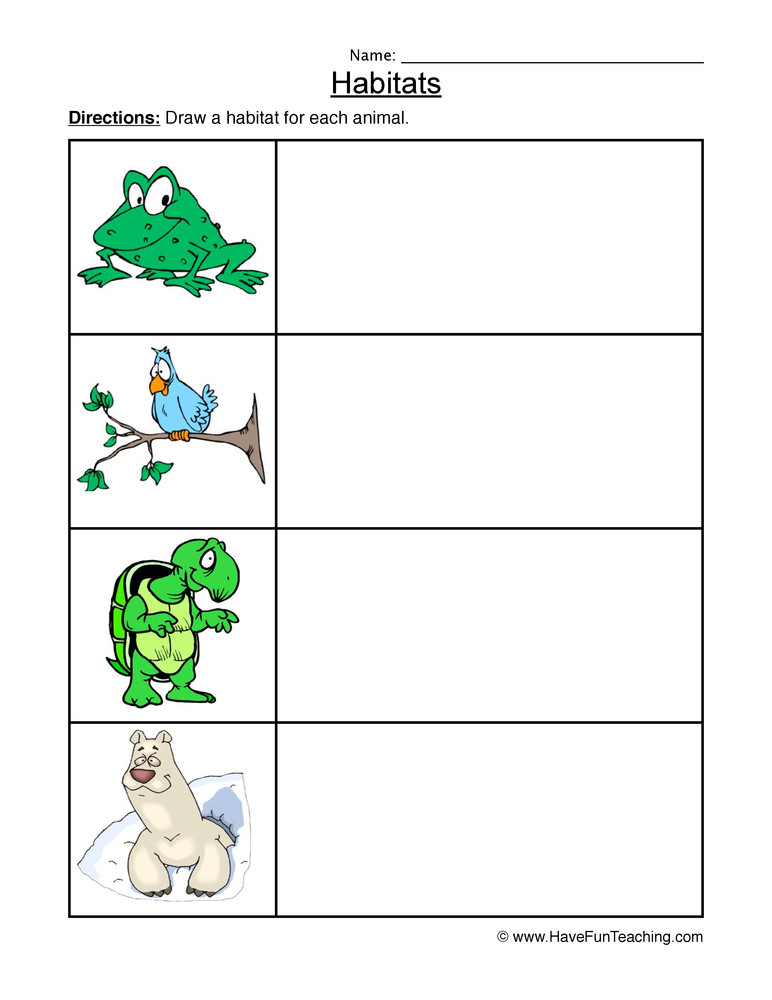 Animal Habitat Worksheets for Kindergarten Frog Bird Turtle Polar Bear Animal Habitats Worksheet